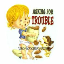 Baby Asking for Trouble - DIY Iron On Glitter T-Shirt Heat Transfer - NEW