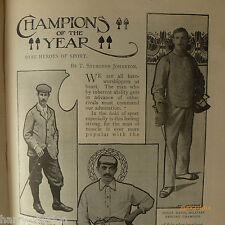 Antique 1900 Sports Champions Vardon Golf Ranji Weightlifting Swimming Football