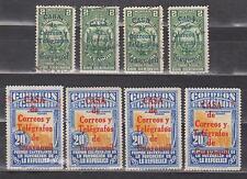 ECUADOR 1934 REVENUE STAMP OVERPRINTED IN BLUE & POSTAL IN RED X 4 SC# RA24 RA33