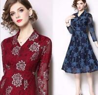 Women's V-neck Floral Printed Lace A-line Dress High Waist Slim Fit Long Dresses