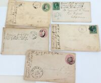 .1860s 1870s 5 x USA COVERS 2 VIA STEAMER. 3 PRE-PAID, ALL TO SAME PERSON
