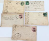 .1860s 1870s 5 x USA COVERS 2 VIA STEAMER. 3 PRE-PAID, ALL TO SAME PERSON