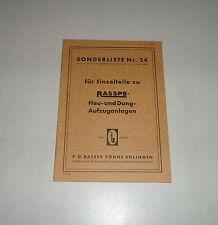 Teilekatalog / Ersatzteilliste Rasspe Heu-/Dungaufzuganlage - 08/1959