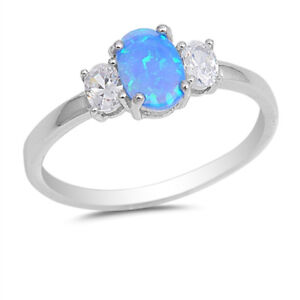 925 Sterling Silver Blue Created Opal Trilogy Ring with Cubic Zirconia Accents