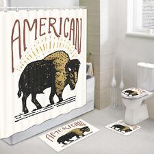 American BISON Shower Curtain Toilet Cover Rug Bath Mat Contour Rug Set