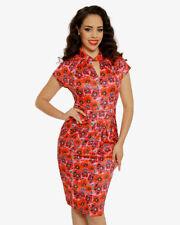 fef392f7e00 Lindy Bop Emma Red Poppy Print Pencil Dress - Size  8