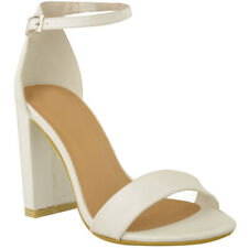 Barely There Block Mid High Heels Sandals Strappy Party Prom Clubbing Comfy Size