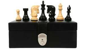 """Combo of Bridle Chess Pieces in Ebony & Box Wood - 3.58"""" King with Storage Box"""