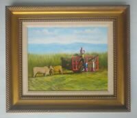 Framed Original Painting on Canvas by Eusebio Vidal 2005 Field Workers Sugarcane
