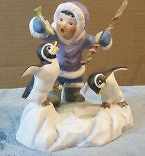 Franklin Mint Whimsical Porcelain Bird Penguin Figure What A Catch! Repaired Rod
