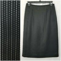 Kasper Womens Skirt Black Size 4 Straight Pencil Pinstripe