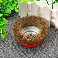 Steel Wire Crimped Round Abrasive Grinding Bowl Wheel Brushes 16mm Dia Gold Tone