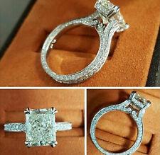 4+Ct Near White Radiant Moissanite Vintage Engagement Ring 92.5 Sterling Silver