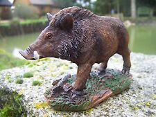 NA0637    FIGURINE 12 cm  STATUETTE SANGLIER GIBIER CHASSE A COURS