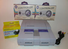 Super Nintendo SNES System Console Bundle w/ New Controllers & Hookups!