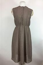 Vintage 1960s Brown Dress Geometric Button Front Pleated Sleeveless Polyester