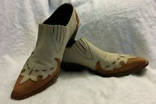 Guess by George Marciano Cream and Brown Cowboy Booties Size 7