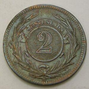URUGUAY 2 Centesimos 1869 H - Bronze - F/VF - 3720