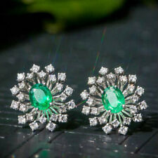 1.29TCW Natural Colombian Emerald Diamond Stud Earrings G14K White Gold