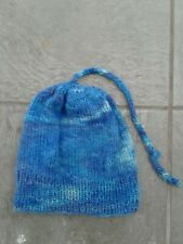 Handmade Blue Wool and Mohair Winter Beanie