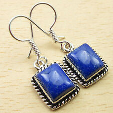 Silver Plated Jewelry 3.4 Cm New Lapis Lazuli Designer Earrings, Fabulous Gem
