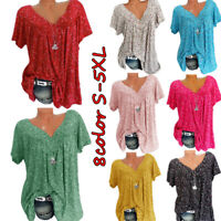 Women Summer Boho Short Sleeve Floral V Neck T Shirt Blouse Casual Tunic Tops