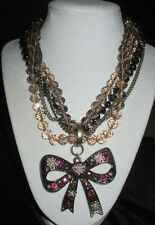 Betsey Johnson Brass-Tone Bead and Crystal Torsade Bow Pendant Necklace