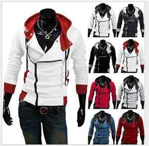 Men's Stylish Creed Hoodie Zipper Coat Cosplay For Assassins Jacket Costume Coat