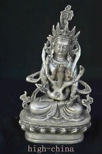 Collectable Chinese Miao Silver Carve Tibet Ancient  Happy Buddha Old Statue