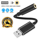 USB to 3.5mm Jack Audio Adapter Stereo Connector for MacBook PS4 Desktop Laptop