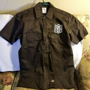 OAKLAND RAIDERS WORK SHIRT - MEDIUM - DICKIES - BROWN - RAIDERS 4 LIFE