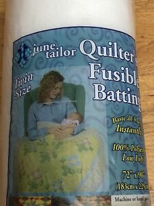 """June Tailor Two-Sided Low-Loft Fusible Polyester Quilt Batting 72""""x90"""" Twin Size"""