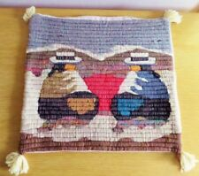 Southwestern Home Decor Pillow Cover Handwoven Wool Pueblo Figures Gray Blue Red