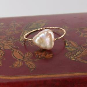 White colours Baroque Pearl 18k Ring 9-10# Luxury Mesmerizing Cultured Gift