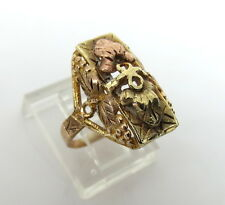Antique Hand Decorated 14k Yellow & Rose Gold Leaf Design Ring Size 4.75