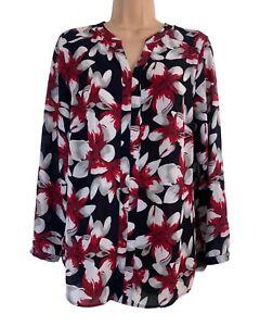 DAVID EMANUEL black red white floral print crepe long sleeve dress size 10