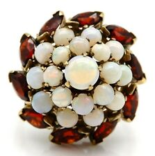 VICTORIAN Solid 18k Yellow Gold / Ruby / Opals Ladies Large Ring Size 5.5