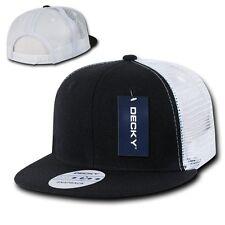Black & White Blank Plain Mesh Flat Bill Snapback Trucker Baseball Ball Cap Hat