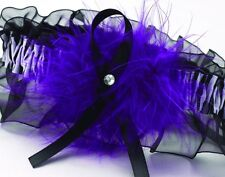 Purple Feather Zebra Print Black Satin Chiffon Bride Wedding Bridal Garter