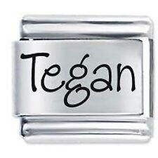 TEGAN Name - 9mm Daisy Charm by JSC Fits Classic Size Italian Charms Bracelet