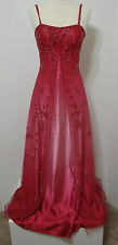 Jovani Ruby Red Ombre Rhinestone Bead Trim Net Overlay Spaghetti Strap Gown 4