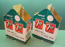 ( 2 )SEVEN UP 7-UP CARDBOARD DOUBLE 2 QUART BOTTLE PACK CARTONS N OLD STOCK