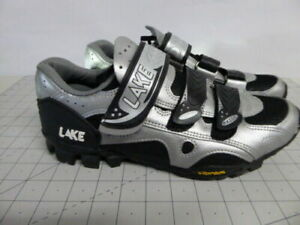 Lake MTB MX165 Cycling Shoes Size 10.5 / 44.5 Sliver & Black Pre Owned Excellent