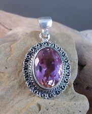 New 9 ct Genuine Purple Ametrine Amethyst/Citrine Pendant Sterling Silver #566