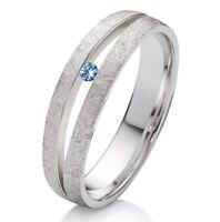 Verlobungsring Trauring Silber mit echtem Topas und Wunsch Lasergravur SDT37
