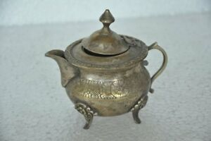 Old Brass Handcrafted Nice Inlay Engraved Unique Tea Pot , Rich Patina