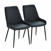 HOMCOM Black PU Leather Dining Chair of Mid Century Modern Style - Set of 2