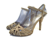 Womens Stiletto Shoes Size 4 Wide Fit High Heels Nude Beige Studded Ankle Strap