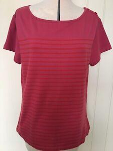 Seasalt Breakwater Pink Striped T-Shirt Size 18