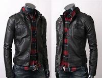 Men's Vintage Black Strap Pocket Slim Fit Black Biker Genuine Leather Jacket